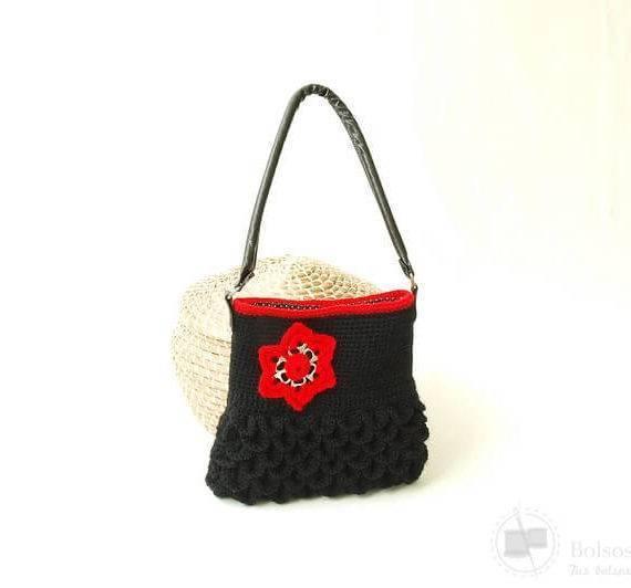 Bolso lana tejido a crochet hecho a mano