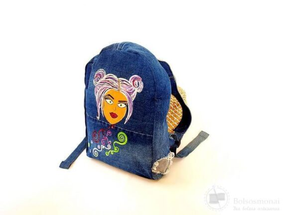 Mochila denim azul upcycling