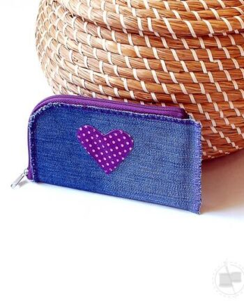 Artisan heart upcycling wallet